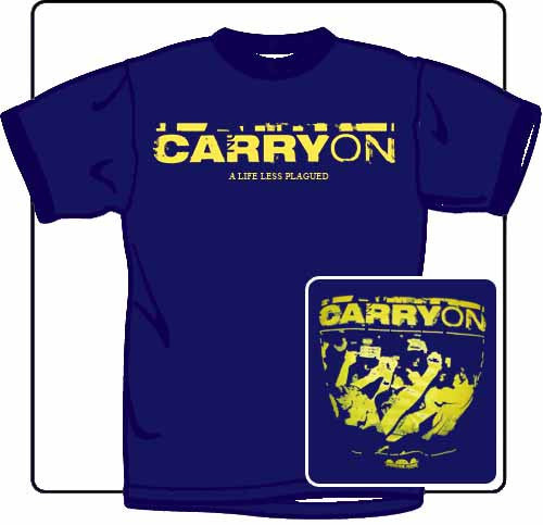Carry On A Life Less Plagued T Shirt Large