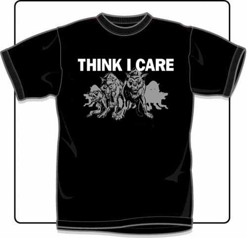 Think I Care Wolves T Shirt Small