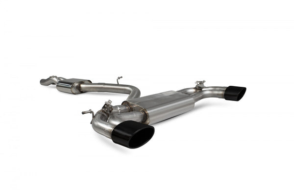 Audi RS3 8V 17-Current (Facelift) RESONATED CAT-BACK SYSTEM WITH ELECTRONIC VALVES Ceramic Tips PART NO: SAU079C