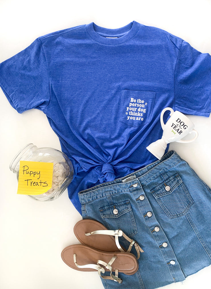 Be The Person (Flo Blue Heather) - Short Sleeve / Pocket Crew