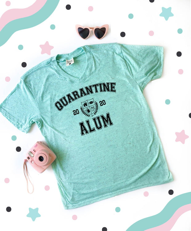 Quarantine Alum (Mint Funfetti Heather) - Short Sleeve / V-Neck