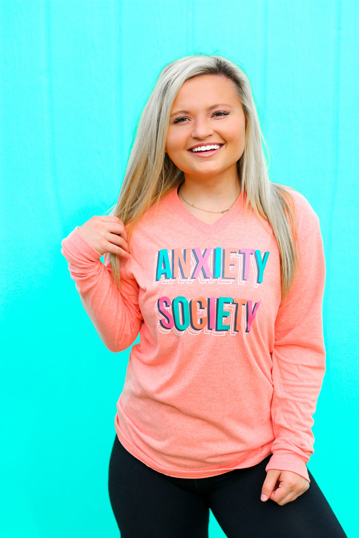 Anxiety Society (Coral heather) - Long Sleeve / V-Neck
