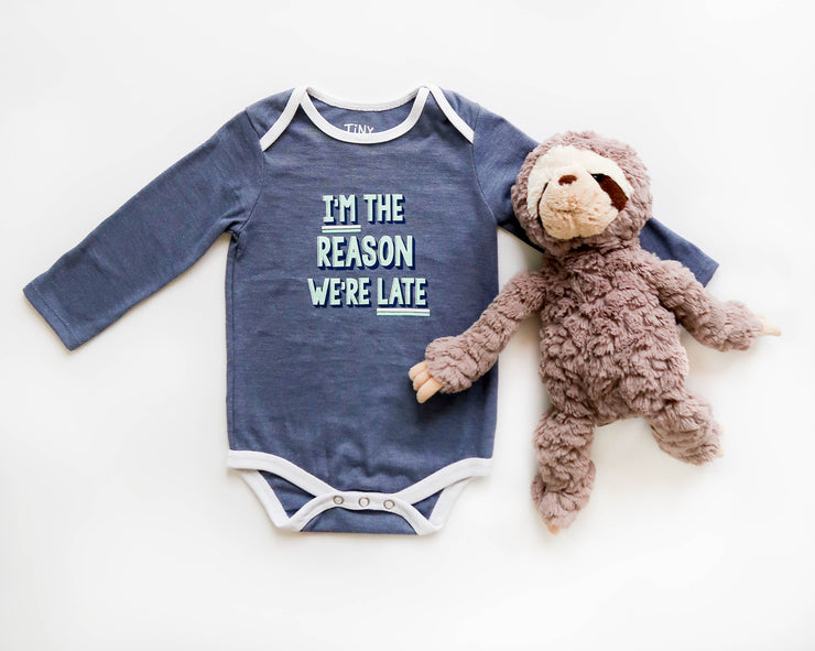 I'm The Reason We're Late (Blue Jean Heather) - Onesie Pre Pack