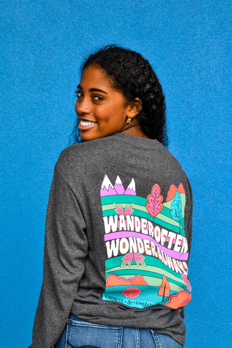 Wander Often Wonder Always (Charcoal Heather) - Long Sleeve / Crew