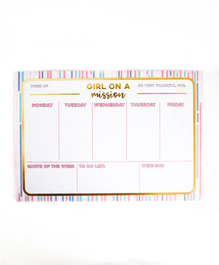Weekly Desk Calendar (Pink) - Pre-Pack of 6