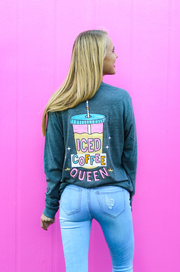 Iced Coffee Queen (Charcoal Heather) - Long Sleeve / Crew