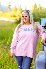TSL - Amen (Mauve Acid Wash) - Long Sleeve / Sweatshirt Crew