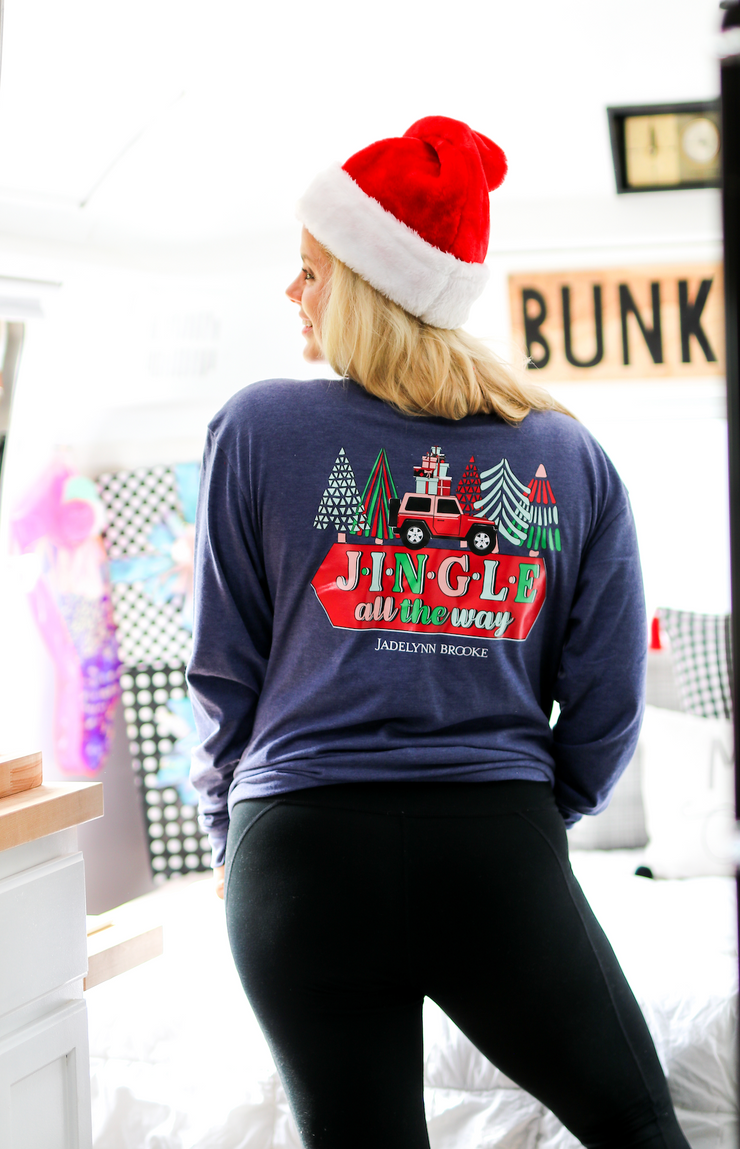 Jingle All The Way (Navy Heather) - Long Sleeve / V-Neck