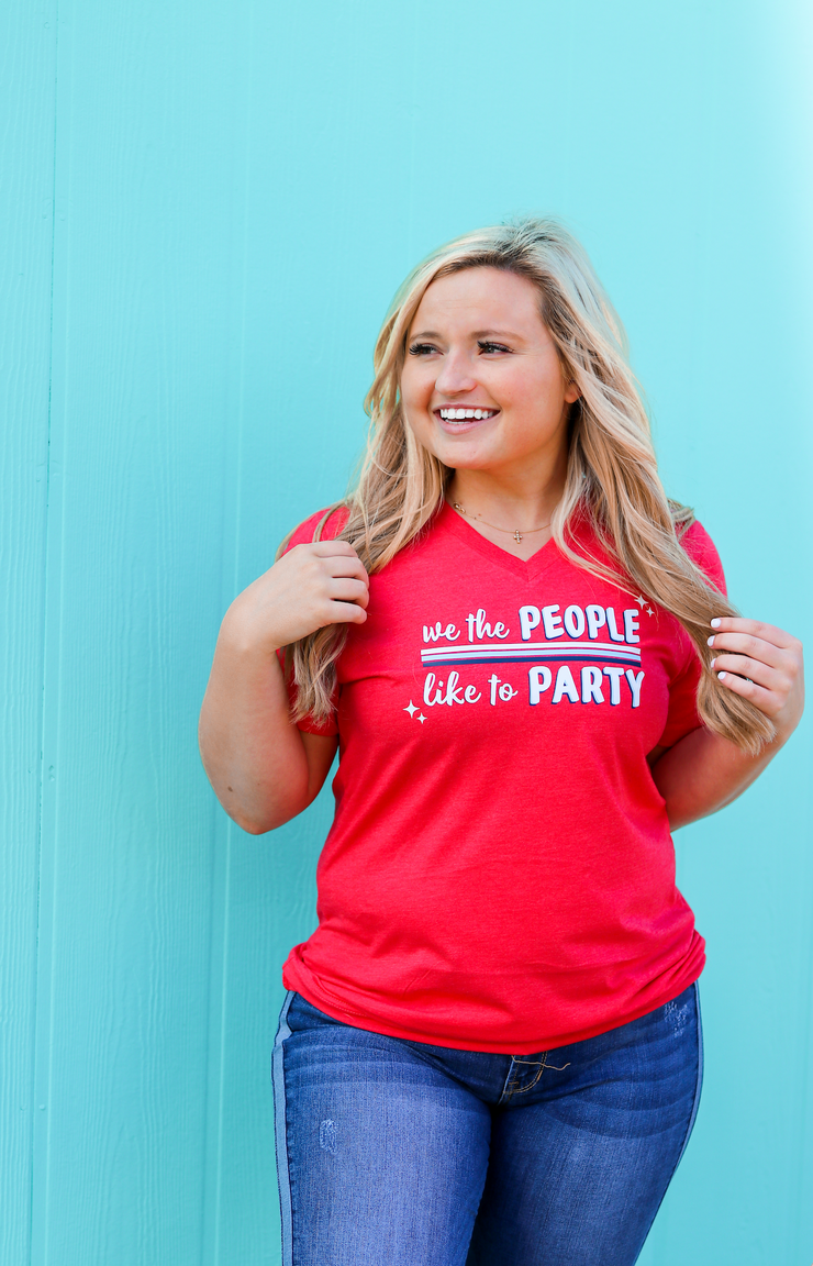 TSL - We The People Like To Party (Red Heather) - Short Sleeve / V-Neck