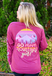 Go Move Mountains Girl (Heather Wine) - Long Sleeve /  V-Neck