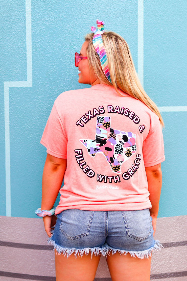 Texas Raised (Coral Funfetti Heather) - Short Sleeve / V-Neck