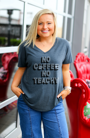 TSL - No Coffee No Teachy (Charcoal Fleck) - Short Sleeve - V-Neck
