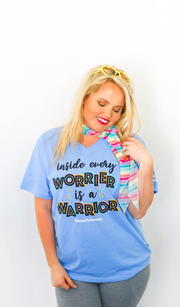 Inside Every Worrier Is a Warrior (Periwinkle Heather) - Short Sleeve / V-Neck