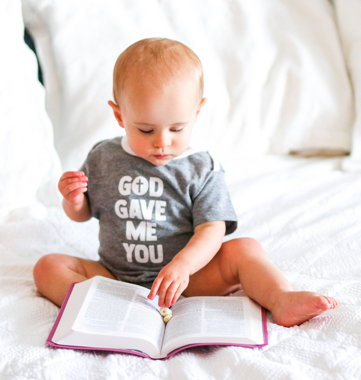 Tiny Tinies - God Gave Me You (Dark Grey Heather) - Onesie Pre Pack