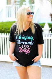 Chasing Dreams & Dogs (Black Speckle) - Short Sleeve / V-Neck