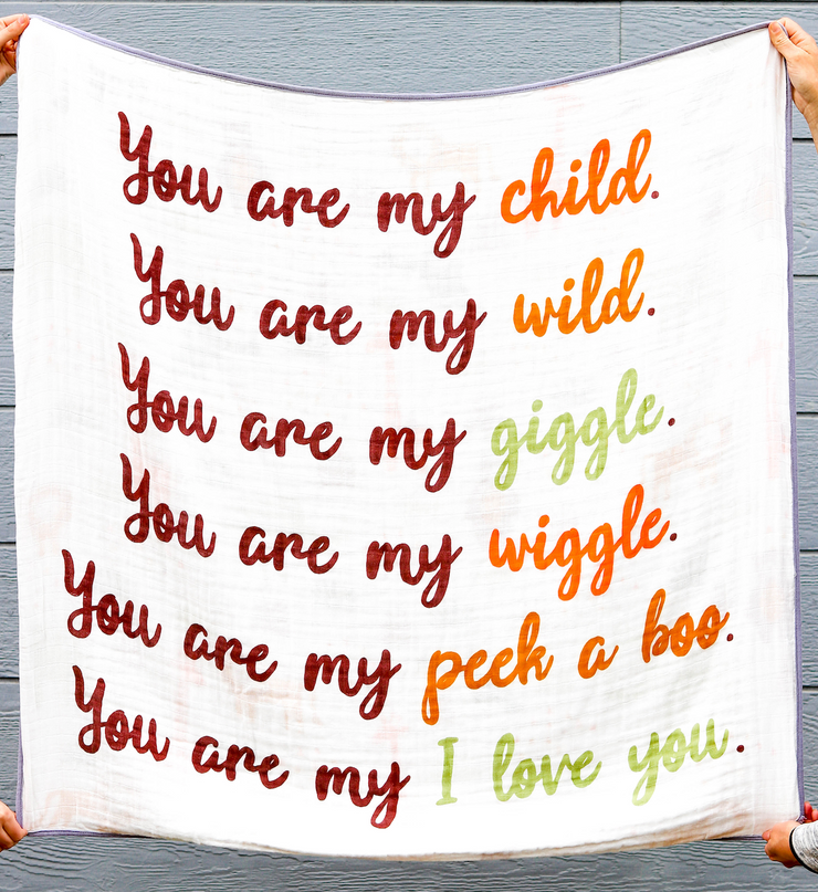 Blanket - You Are My Child (Orange/Olive) - 2 Pack