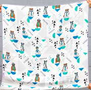 Blanket - My WHOLE Heart (Turquoise/Grey) - 2 Pack