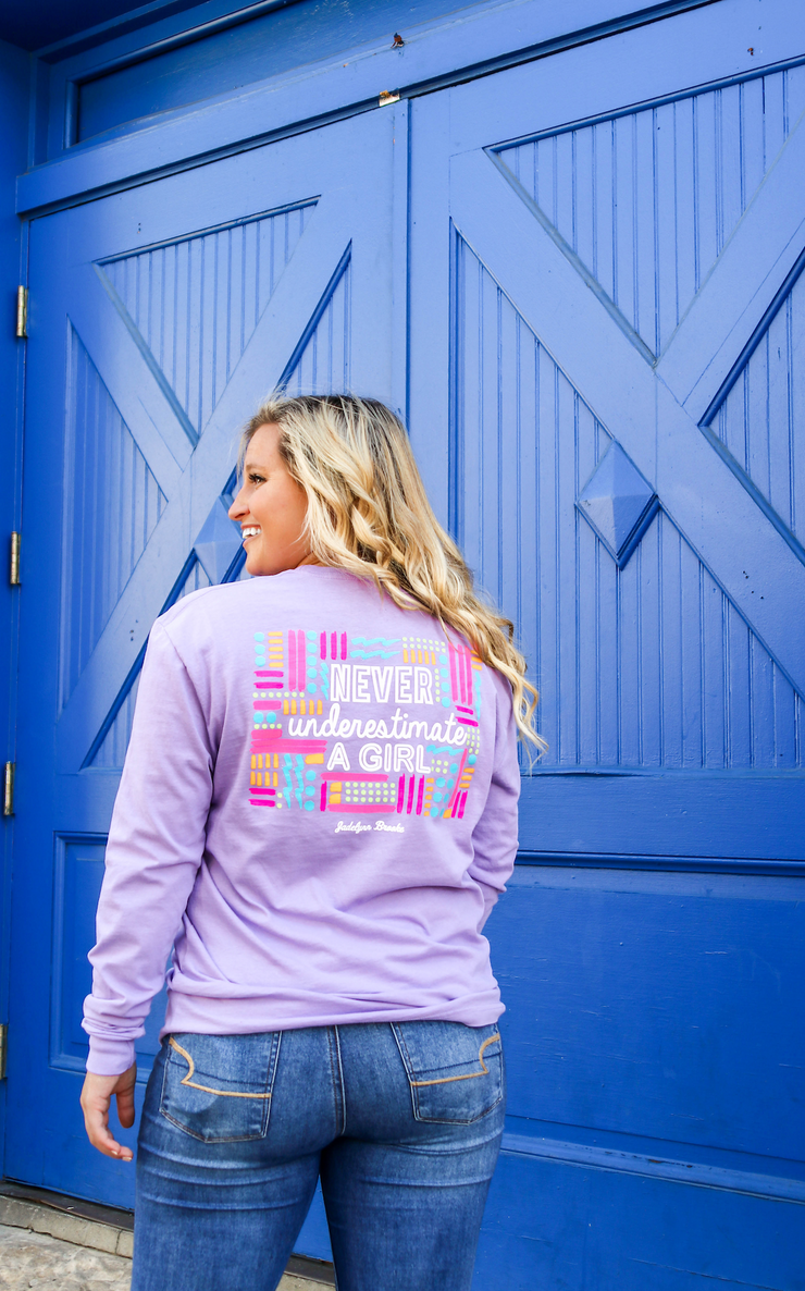 Never Underestimate A Girl (Lavender) - Long Sleeve / Crew