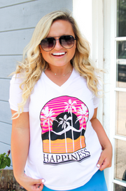 TSL - Happiness (White) - Short Sleeve - V-Neck
