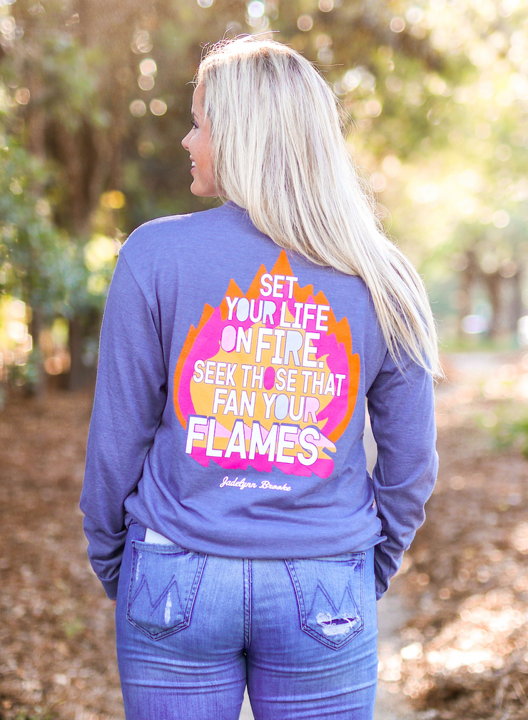 Set Your Life On Fire (Blue Jean Heather) - Long Sleeve / Crew