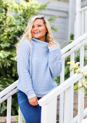 Down Right Cozy Pullover (Powder Blue) - Long Sleeve