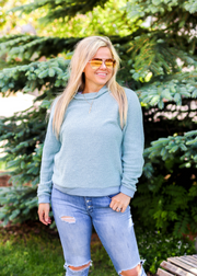 Down Right Cozy Pullover (Chalky Mint/Blue Jean) - Long Sleeve