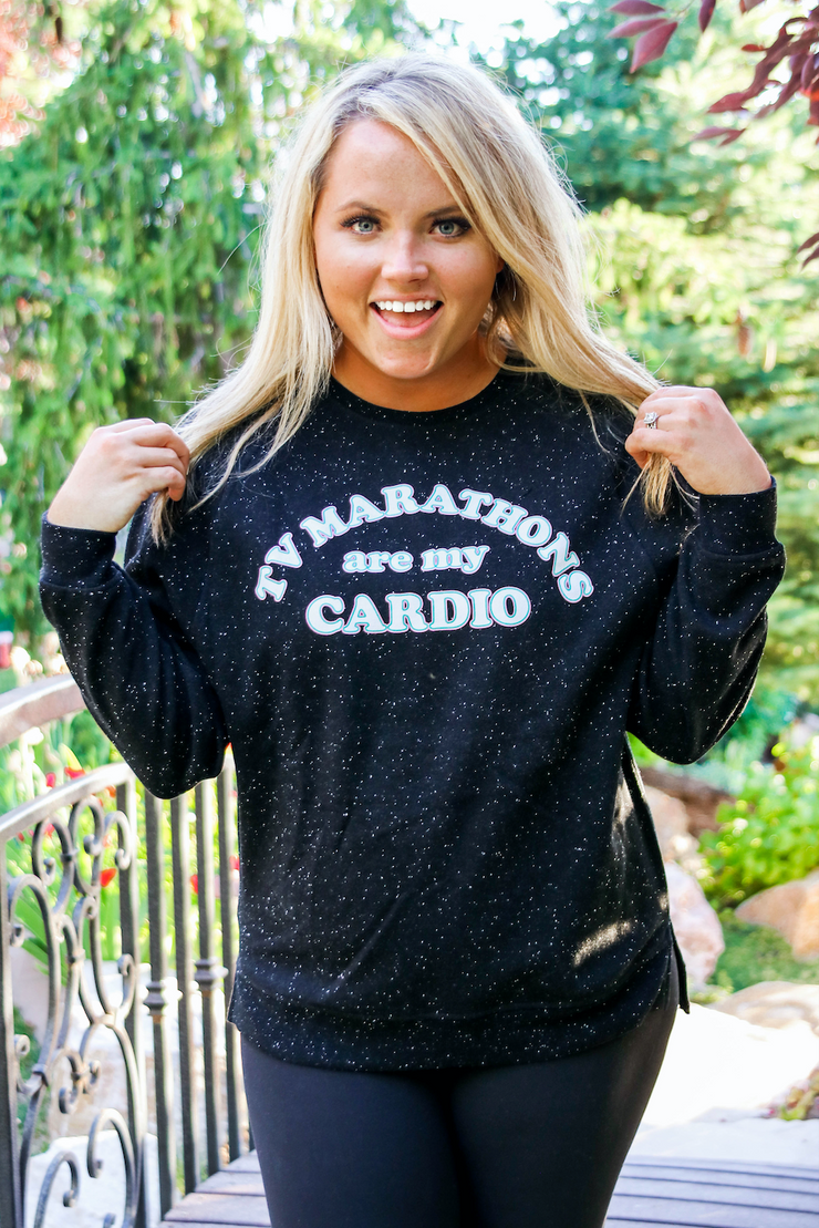 TV Marathons (Dark Night Funfetti) - Long Sleeve / Sweatshirt Crew