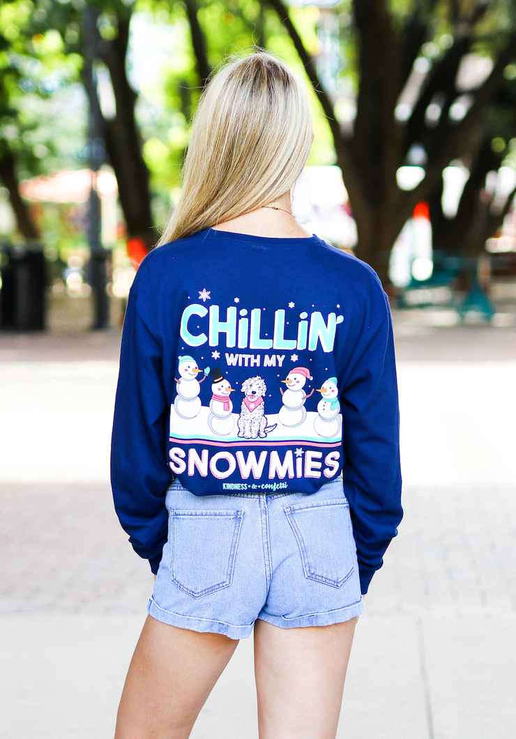 Chillin With My Snowmies (Athletic Navy) - Long Sleeve / Crew