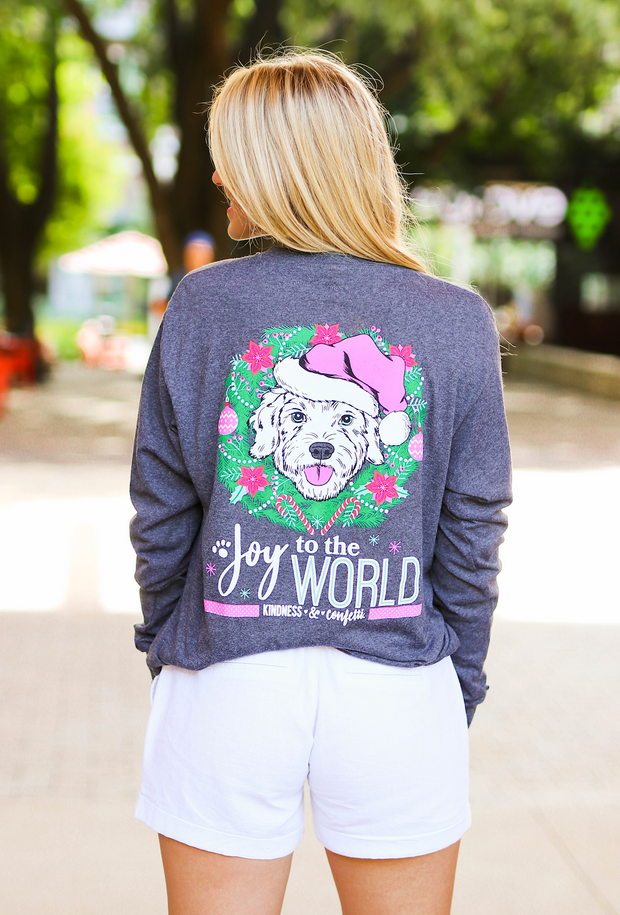 Joy To The World (Graphite Heather) - Long Sleeve / Crew