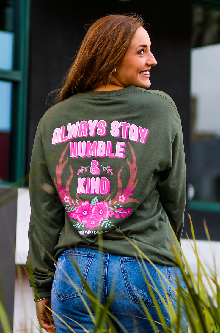 Always Stay Humble & Kind (Moss) - Long Sleeve / Crew