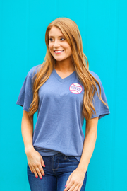 You Either Love Baseball (Blue Jean Heather) - Short Sleeve / V-Neck