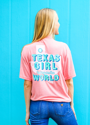 Texas Girl (Coral Funfetti) - Short Sleeve / V-Neck