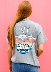 Looking For Coffee (Dark Grey Heather) - Short Sleeve / Crew