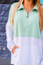 Burnout Quarter Zip (Pistachio/White) - Long Sleeve 1/4 Zip