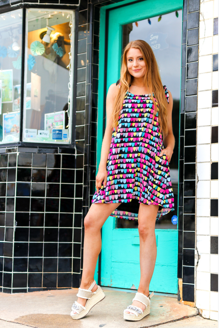 Confetti Cake (Black Multi) - Tie Cami Dress