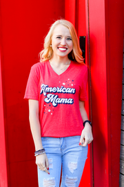 TSL - American Mama (Red Heather) - Short Sleeve / V-Neck