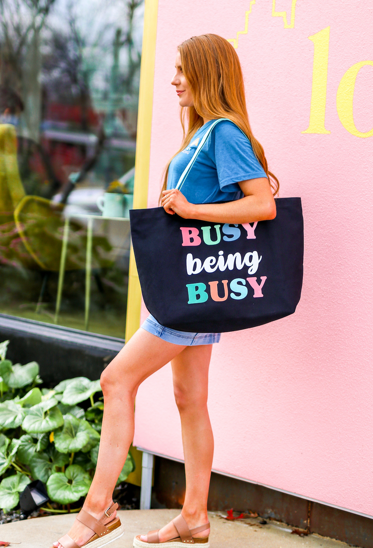 Tote Bag (Black)- Busy Being Busy - Packs of 6