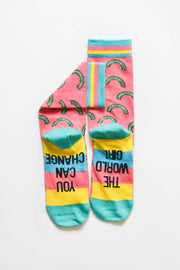 Socks - You Can Change The World Girl (Rainbow) - Pack of 5