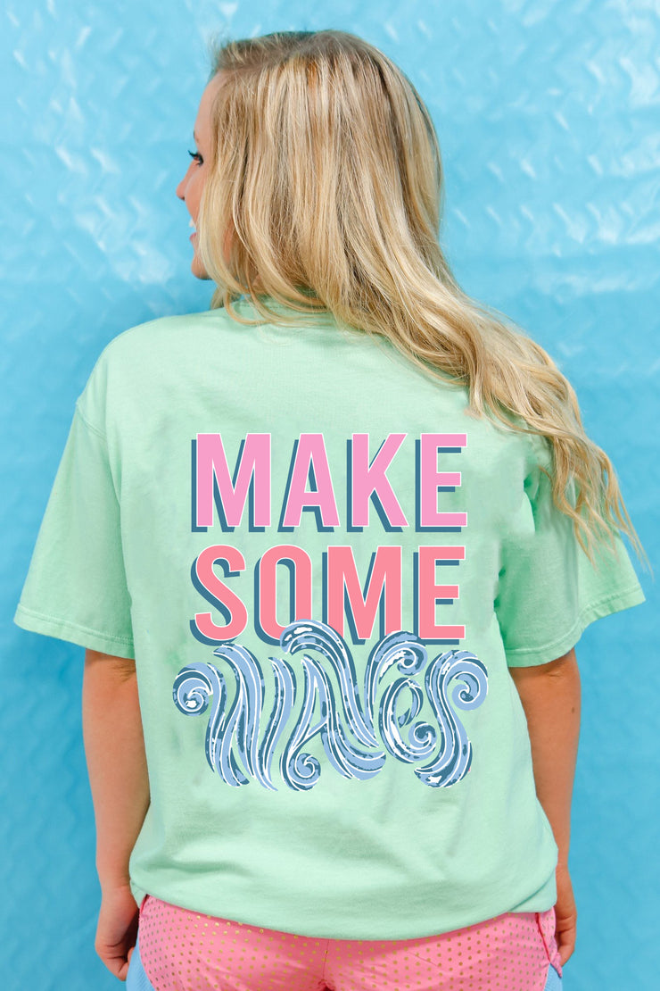 Make Some Waves (Island Reef Heather) - Short Sleeve / Pocket Crew