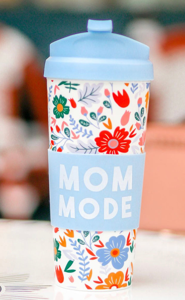 Travel Coffee Mug - Mom Mode (Periwinkle Floral) - Packs of 6