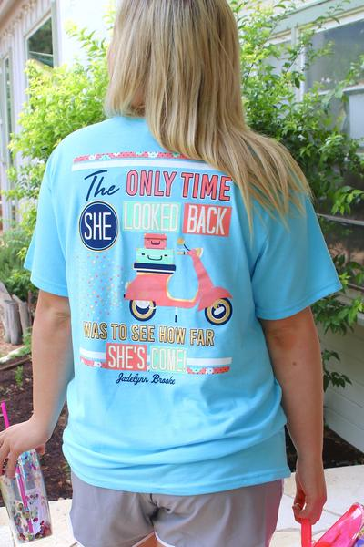 Only Time She Looked Back (Heather Lagoon Blue) - Short Sleeve V-Neck