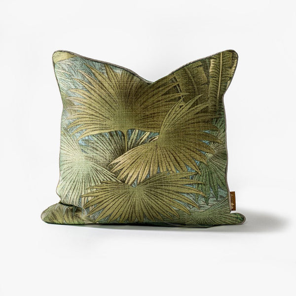 Twilight Palm Cushion – Linen Edge