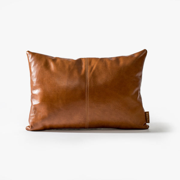 Twin Stitch Leather Lumbar Cushion