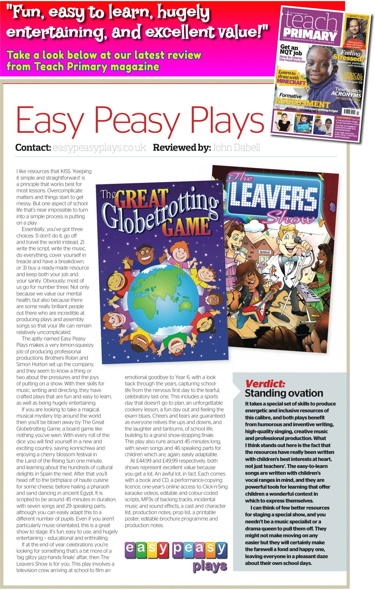 Easy Peasy Plays review of our summer leavers shows for primary children from Teach Primary magazine