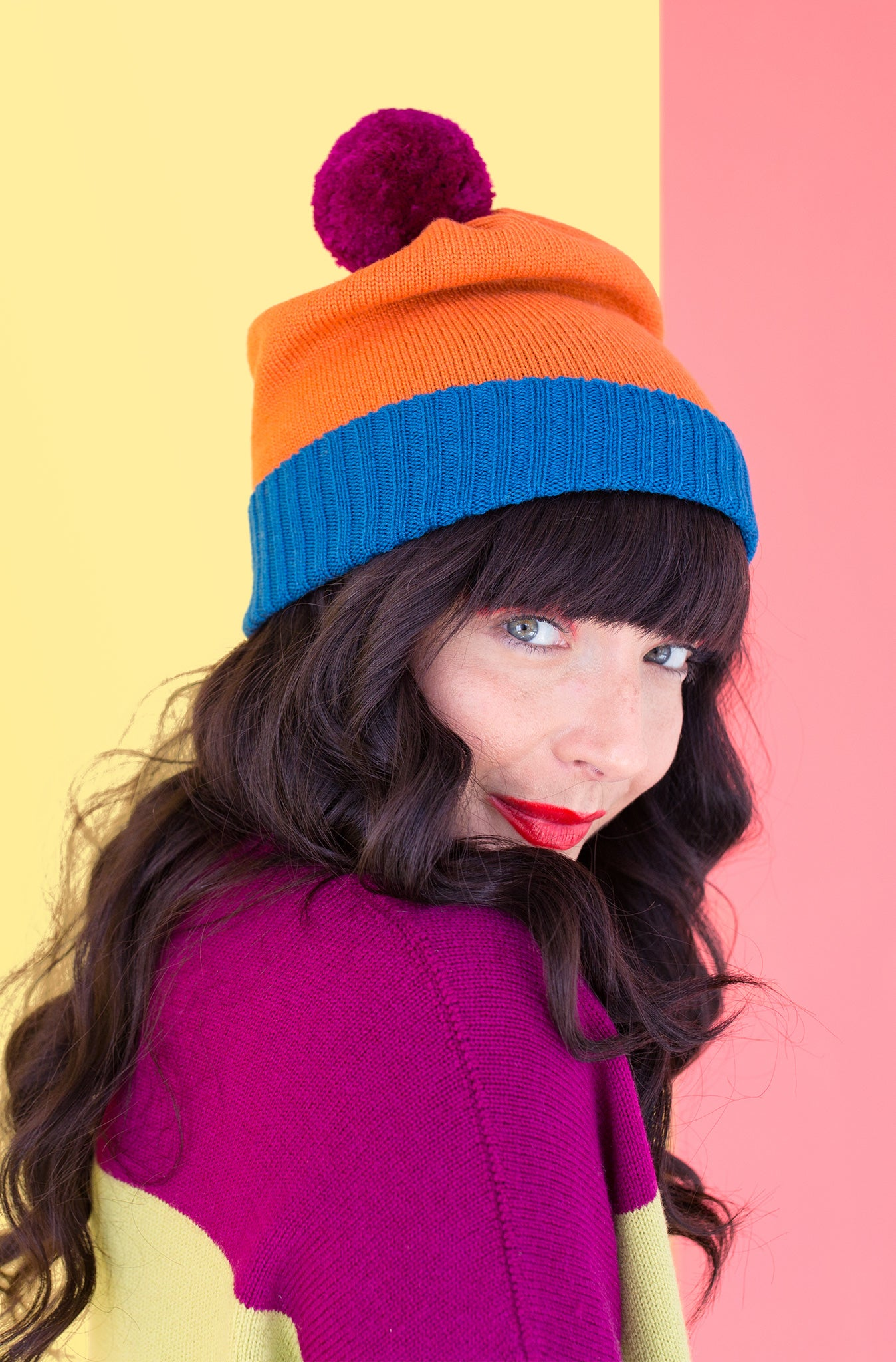 Beanie : Colour Block Orange