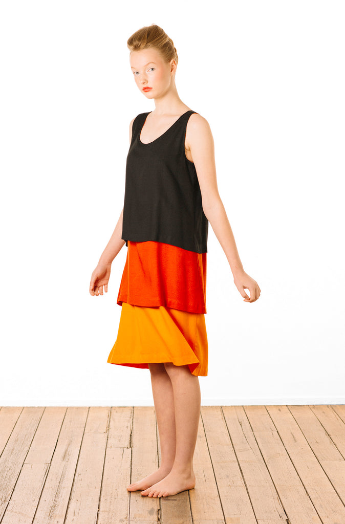 Tri-layer Dress : Black Red Orange