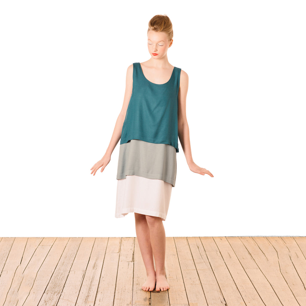 Tri-layer Dress : Teal Grey White