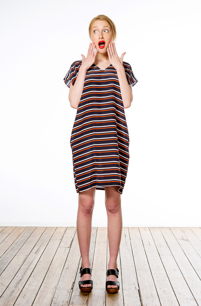 V-neck Dress : Stripe