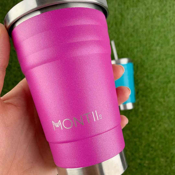 Montiico Mini Stainless Steel Smoothie Cup aqua glitter
