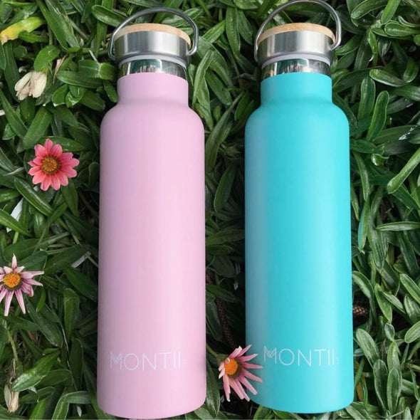 Montiico Insulated Stainless Steel Drink Bottle pink and teal
